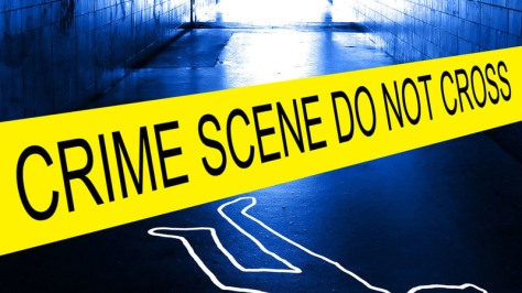 police crime scene with yellow tape. Image shot 2012. Exact date unknown.